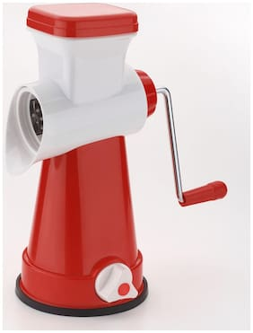 SRK Ultra Red 4 in 1 Rotary Grater & Slicer with high speed rotary CYLINDER & 4 Interchangeable Ultra Sharp SS Blades use for cutting, slicing & grating