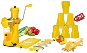 SRK Yellow Fruit Juicer With ,6 In 1 Slicer Dicer Grater, 6 Plastic Glasses & Multi Cutter With Peeler
