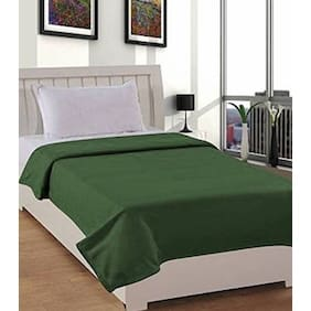 SRS PLAIN GREEN SINGLE BED BLANKET (FLEECE/AC BLANKET)