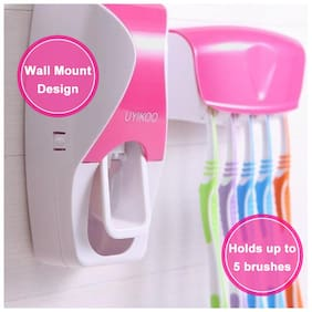 LOGGER - Automatic Toothpaste Dispenser with 5 Toothbrush Holder Set Wall Mount Stand (Color as per availability)