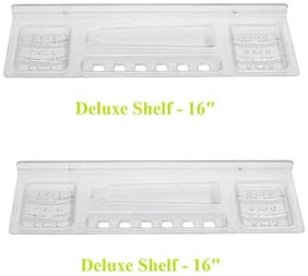 LOGGER - Deluxe Shelf SoapDish/Paste Holder Set of 2 pcs (Size :- 40.64 cm (16 inch) Material : - Acrylic Unbreakable)
