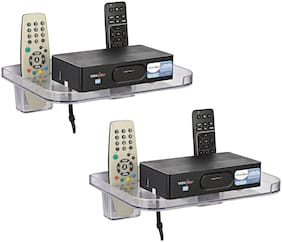 LOGGER - Set Top Box Stand with 2 Remote Holders set of 2 pcs (Colour :- Clear, Material :- Unbreakable)