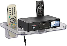 LOGGER - Set Top Box Stand with 2 Remote Holders (Colour :- Clear, Material :- Unbreakable)