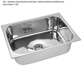 LOGGER - Stainless Steel Kitchen Sink (Size: 45.72 cm (18 inch) X 40.64 cm (16 inch) X 20.32 cm (8 inch)) with Sink Coupling