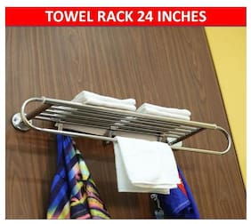 LOGGER - Towel Rack 24 inches with 3 Hooks (Material :- Stainless Steel)