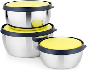 Stainless Steel Power Plus 3 pcs Bowl Set Food For Storage / Serving/Travelling Use