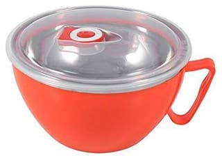 Stainless Steel Microwave Safe and BPA-free Noodles Bowl with Enclosed Handle Lid Stainless Steel;Plastic Bowl