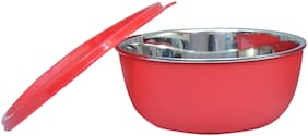 Stainless Steel Plastic Coated Red School Lunch Bowl(Set of 1)-13 cm Each