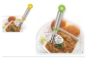 Stainless Steel Potato Vegetable Pav Bhaji Masher, Multicolour
