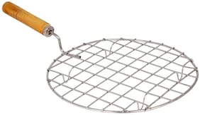 Stainless Steel Round Roaster Papad Jali, Pizza, Barbecue Grill with Wooden Handle Sold By Evershine Gifts And Household