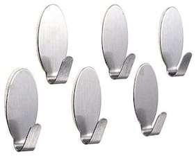 Stainless Steel Hook for Room, Kitchen, Bathroom, Clothes etc (Pack Of 6)- Assorted Shape- Small Size- Sold By Evershine Gifts And Household