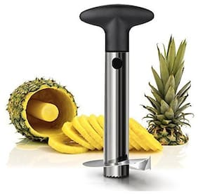 Stainless Steel Fruit Pineapple Corer Cutter Knife (Standard Size, Black + Silver)