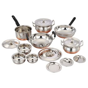 Stainless Steel Cookware Set (Set of 15 Pcs)