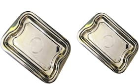 Stainless Steel Serving Tray Combo (Large and Small Size) for serving water and dishes