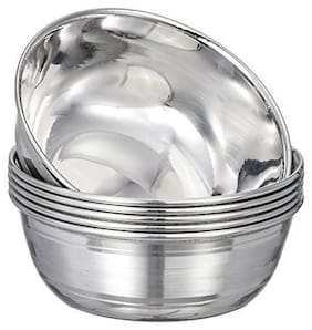 Stainless Steel Bowl, Silver, 6 Pieces