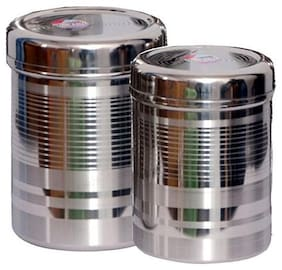 Kitchen4U 1500 ml Silver Stainless steel Container Set - Set of 2