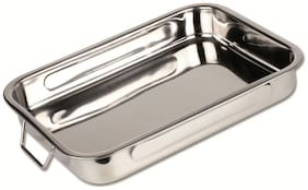 Stainless Steel Roast Pan with Folding Handles // CHEF DIRECT // Lasagna Pan for Baking;Roasting;Grilling (Length 25cm X Width 18cm)