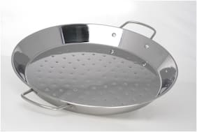 Stainless Steel Round Dish Paella Pan 46 cm//CHEF DIRECT// Paella Pan Use for Cooking, Rosting (Diameter 46 cm, Height 4.5 cm)