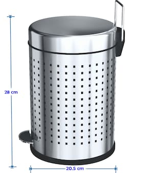 Stainless Steel squre Perforated Pedal Dustbin with Plastic Bucket / Waste bin / Trash Bin / Garbage bin for Home & Office (20.5cm width X 28cm Height) Stainless Steel Dustbin  (Silver)
