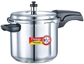 Prestige Deluxe Alpha Stainless Steel 5.5 L Induction Bottom Outer Lid Pressure Cooker - Set of 1 ,