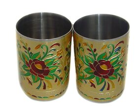 stainless steel glass set of 2
