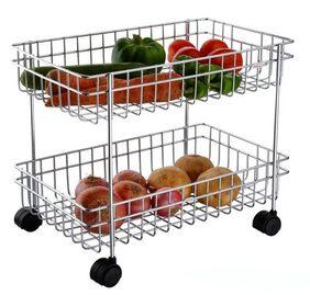 Stainless Steel Vegetable & Fruit Trolley - 2 Racks
