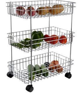 Stainless Steel Vegetable & Fruit Trolley - 3 Racks
