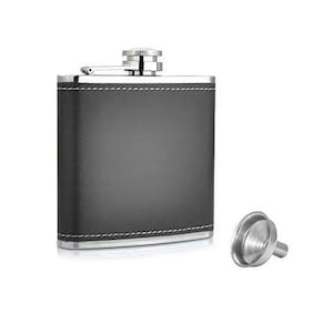 Stainless Steel & Stitched Leather Hip Flask With Funnel Set For Men And Women
