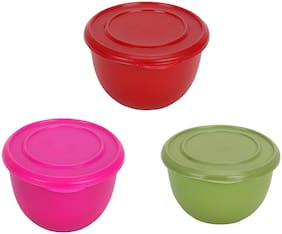Stainless Steel Micro Wave Safe Color Full Bowl Set of 3 pcs 15 Cm