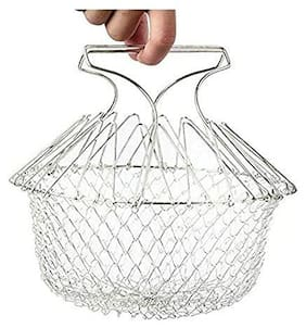 Stainless Steel Foldable Chef Basket for Cooking, Deep Fry, Boiling, Steaming (1PC) Silver