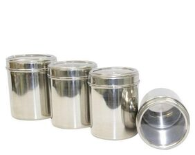 Stainless Steel Kitchen storage Canisters with see through lid - Set of 4 - size 8,9,10,11