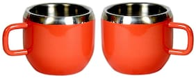 Stainless steel double wall set of 2 Red Warm cups