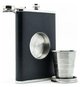 Stainless Steel Hip Flask with Leather & Collapsible Shot Glass