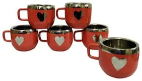 Stainless Steel Set of 6 Red Warm Apple Cup with Heart shape