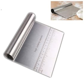 Stainless Steel durable Pizza Dough Scraper Cutter Flour Pastry Cake Tool