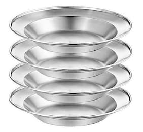 Stainless Steel Plate Set - 8.5 inch 4 pk Portable Dinnerware Set BPA Free Plat