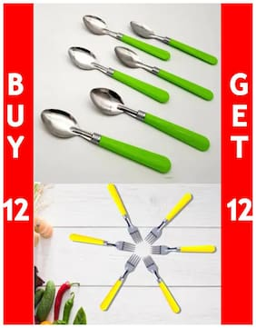 Set of 24 Stainless Steel Spoons and Forks with Designer Handle