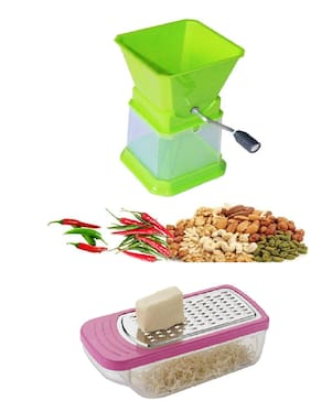 Star Chilly, Nut, Onion & Dry Fruit Cutter Chopper in Unbreakable Plastic with Free Famous Cheese Grater Combo Set (1 pc Chilly Cutter & 1 pc Cheese Grater) By DealDelivery