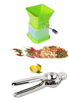 Star Chilly, Nut, Onion & Dry Fruit Cutter Chopper in Unbreakable Plastic with Free Steel Lemon Squeezer Combo Set (1 pc Chilly Cutter & 1 pc Lemon Sqzr) By DealDelivery
