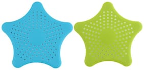 Starfish Hair Catcher Rubber Bath Sink Strainer Shower Drain Cover Trap Basin (Multi Color)  2pc