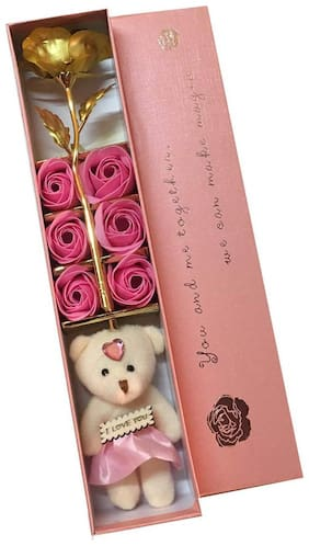 Starvis Gold Rose with Beautiful Teddy and Beautiful Rose with Perfume (28 cm, Pink)