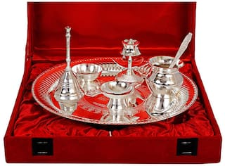 Starvis Premium heavy Quality German Silver Elegant Pooja Aarti Thali with Velvet Box for Occasional Gift, Home Temple, Gift and Diwali Gift Items Brass