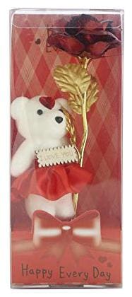 Starvis Valentine Day Gift Red Rose Artificial Flowerand Soft Teddy For Girlfriend;Wife;Husband -Set Of 1