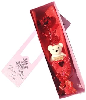 Starvis Valentines Gift 24 Karat Red Gold Rose 25 Cm With Lovely Teddy bear And Gift Box and I love you tag
