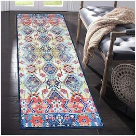 Status 3D Printed Vintage Persian Bedside Runner Carpet Rug Anti Skid Backing for Home/Kitchen/Living Area/Office Entrance (56 X 140 cm;Multi) Pack Of 1
