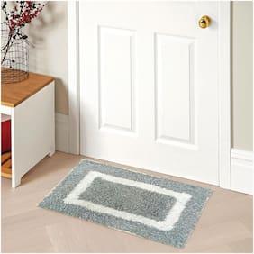 Status Contract Microfiber Anti Slip Backing Entrance Water Absorbent Bath Door Mat (15 x 23 inch, Grey)