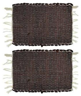 Status cotton Door Mats Dark Brown Combo (Pack Of 2)