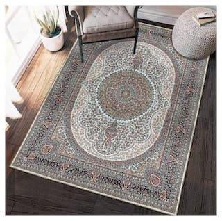 Status Ice Silk Velvet Touch Persian Kashmiri Vintage Carpet with Anti Slip Backing for Bed Room|Living Area|Home|Office|Kids Room|(4 X 6 ft;Multi)