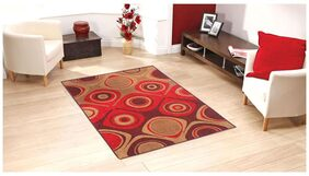 Status Red Taba Large  Drawing Room Carpet- 1 Pc