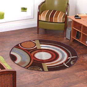 Status  Brown Taba Medium Round Dressing Room Carpet- 1 Pc